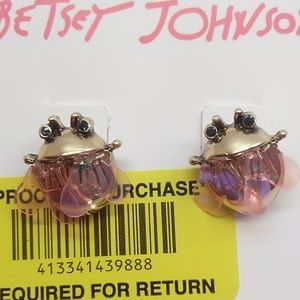 Betsey Johnson New Pink-Winged Bug Earrings